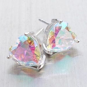 925 Sterling Silver Heart Rainbow Topaz Earrings